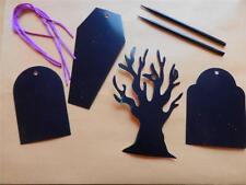 8 Halloween Graveyard Scratch Art Ornaments Kit Craft Tombstone Casket Tree