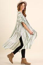 PLUS SIZE XL/1XL UMGEE SAGE Tie Dye Kimono Maxi Duster/Cover Up OVERSIZE  BHCS