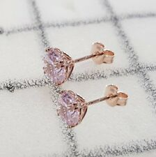 Stud Earrings Gold: 9K Rose gold Simulated Morganite earrings, Christmas gift