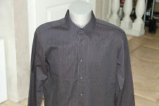lujosa camisa de rayas HUGO BOSS negro label modelo chuck talla 44 17 1/2