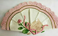 Fitz and Floyd Trinket Jewelry Dish Art Fan Thinking of You Pink Rose Design