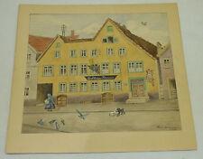 Antique Original Watercolor German Hotel Gasthaus Kanne Artist Signed Bergmann