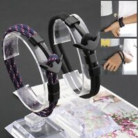 2pcs Nautical Style 21cm Polyester Rope Alloy Anchor Wristband Bracelets Kit