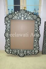 Indian Handmade Wooden Bone Inlay Mehrab Design Mirror Frame