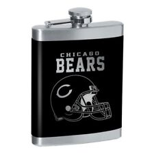 NFL CHICAGO BEARS FLASK ~ 8oz. STAINLESS STEEL LASER ENGRAVED