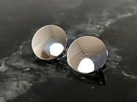 Lovely Vintage Jewellery Mirror Silver-tone clip-on earrings Signed Monet