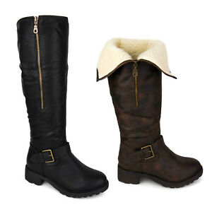 LADIES WOMENS KNEE HIGH FUR LINED LEATHER FLAT LOW HEEL BIKER RIDING BOOTS SIZE