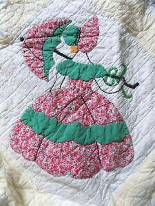 Vintage Sunbonnet Sue Hand Stitched Cotton Quilt Yellow and White