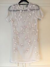 Womens ASOS White Flower Sequin Embellished Sheer Dress Size 8