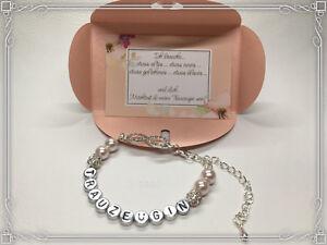 TRAUZEUGIN danke fragen Geschenk Armband Schwester Buchstaben silber brautjungfe