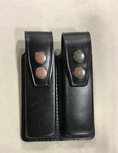 Leather Double Magazine Case - SINGLE STACK .45 Metal 1911 Magazines (# 003 BLK)