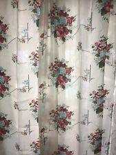 "Vtg 1960's bark cloth curtains Never Used. 90"" by 42"" Floral Bunch 6 Panels"