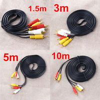 Premium 3 RCA Gold Plated Composite Male to Male Audio Video AV Cable fr DVD Lot