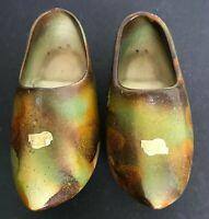 Vintage Gouda Holland Art Pottery Ceramic Clogs w/ Osirus Sticker Drip Glaze