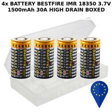 4x BATTERY BESTFIRE IMR 18350 FLAT TOP 1500mAh 3.7v 30A HIGH DRAIN BATTERIA 1BOX