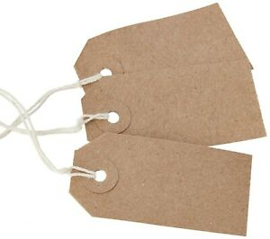 50 Rustic Recycled 70 x 35mm Kraft Buff Blank Strung Tags Labels Luggage Gift