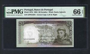Portugal 20 Escudos 26-3-1964 P167b  Uncirculated Grade 66