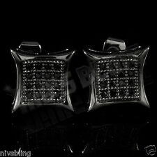 18k Black Gold ICED OUT Micropave Stud Square Hip Hop Bling AAA CZ Earring 5M