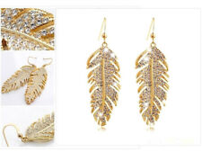 Long Leaf Drop Earrings Gold Diamante Crystal Rhinestone Dangle Feather Party UK