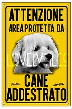 MALTESE AREA PROTETTA TARGA ATTENTI AL CANE CARTELLO PVC GIALLO