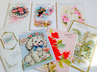 """Vintage Ephemera Unused Get Well Cards Puppy Hallmark Set of 7 Lot """"K"""""""