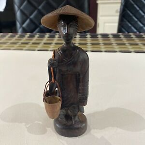 Vintage Wooden Carved Oriental Man Chinese? Japanese? Water Carrier