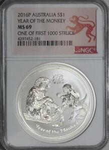 2016P AUSTRALIA SILVER COIN $1 YEAR OF THE MONKEY{ONE OF FIRST 1000 ST} NGC MS69