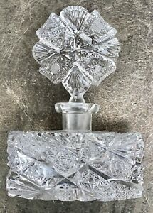 Vintage Cut Glass Scent Or Perfume Bottle With Glass Stopper.