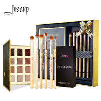 Jessup Eye Makeup Brush Kit & 12 Color Eyeshadow Palette Bamboo Blending Brush