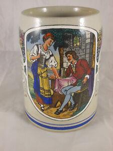Antiker Jugendstil Bierkrug mit Spruch emailliert frivol 10/20L. um 1910