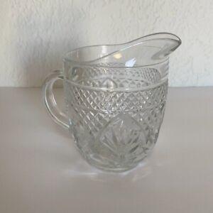 Glass Milk Creamer Diamond Cut Leaf Pattern