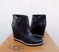 "UGG AMAL BLACK LEATHER/ SHEEPSKIN 3"" WEDGE ANKLE BOOTS, US 10/ EUR 41  ~NIB"