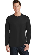 Men's Big & Tall Port & Co Cotton  Long Sleeve Crew Neck Tee Shirt 5X Black