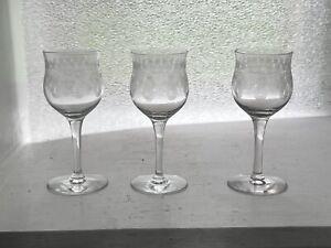 Set 3 Rare Heisey Spencerian Needle Etch 1oz Cordial Glasses 3308 Bob White 1916