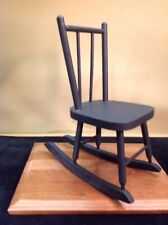 Vtg Solid Wood Doll Rocker 12.5 Inches Tall Painted Flat Black