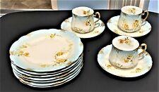 R. DELINIERES & CIE LIMOGES D & C FRANCE FLORAL PLATES / TEA CUPS & SAUCERS