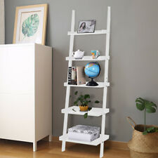 5 Tier Wooden Wall Rack Leaning Ladder Shelf Unit Bookcase Display UK Stock