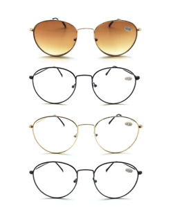 Round Metal Oval Reading Glasses Sunglasses Wire Vintage Mens Womens +1 +1.5 +2