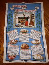 New listing Rare Vintage Made in Ireland Traditional Irish Recipes vibrant Linen Tea Towel