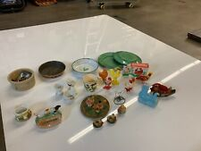 Antique Toys And Dishes Lot Chickens Hens Rooster Vintage