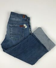 7 For All Mankind Button Fly Crop Boy Cut Selvedge Cuff Denim Jeans Women's 26