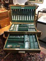 Silver Plate Cased Cutlery Set In Oak Case.