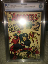 Avengers #4 CBCS 9.4 Marvel 1964 1st Captain America S.A.! With CGC mylar! K8 cm