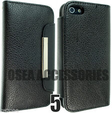 For Apple IPhone 5 5G Leather Case Cover Flip Wallet Pouch Free Screen Protector