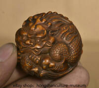 "1.8"" Rare Old chinese Boxwood wood Carved dragon beast Statue"