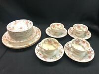Antique Royal Worcester Pekin Cups Saucers, Dessert & Luncheon Plates 18 Pcs