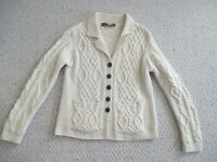 Inis Crafts Ivory Cardigan Wool Fisherman Sweater Size M