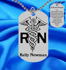 Personalized NURSE Dog Tag Necklace with Nurse's Prayer, Laser Engraved Gift