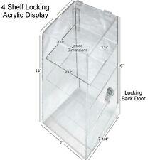 Hi Quality Clear Acrylic Retail Display Case 4 Shelf With Security Lock Usa Nib