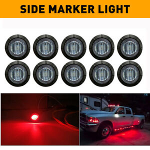 """10X Red Smoked Round Side Marker lights Truck Trailer Red 3/4""""LED Bullet Light A"""